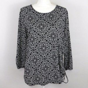 Kim Rogers Black White Floral  Ruched Blouse - L